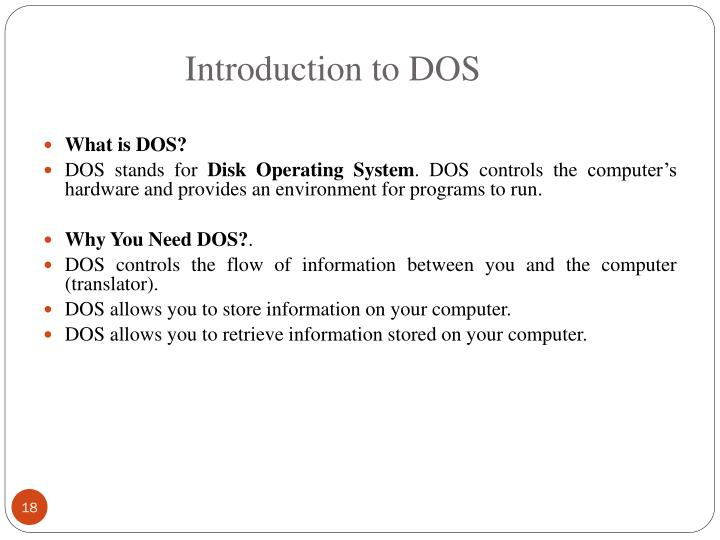Introduction to DOS