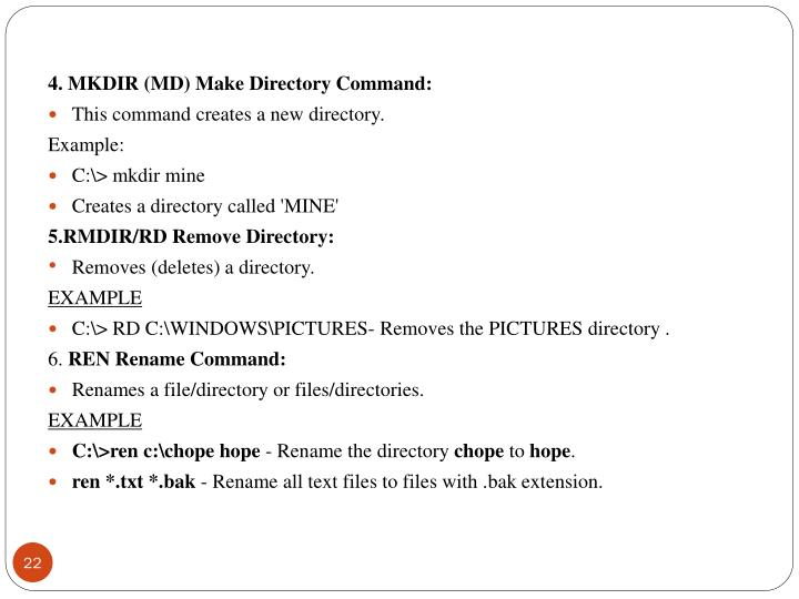 4. MKDIR (MD) Make Directory Command:
