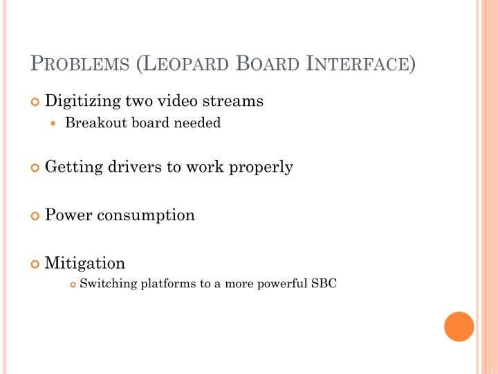 Problems (Leopard Board Interface)