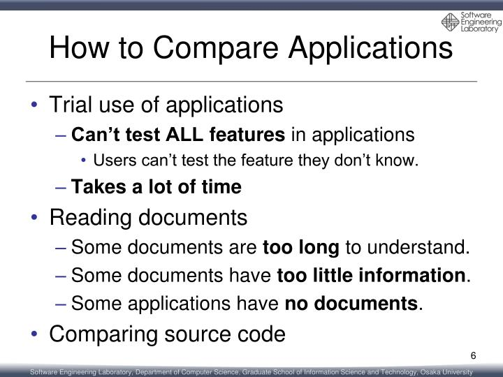 How to Compare Applications