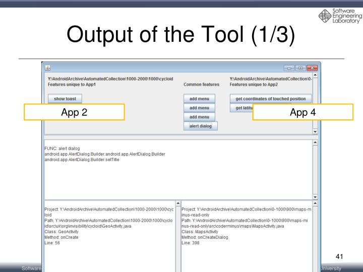Output of the Tool (1/3)