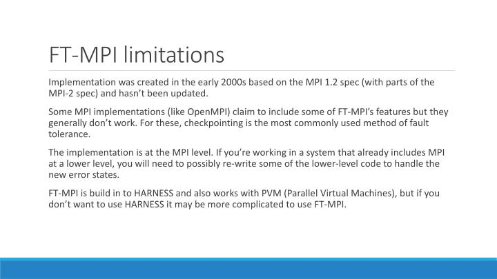 FT-MPI limitations