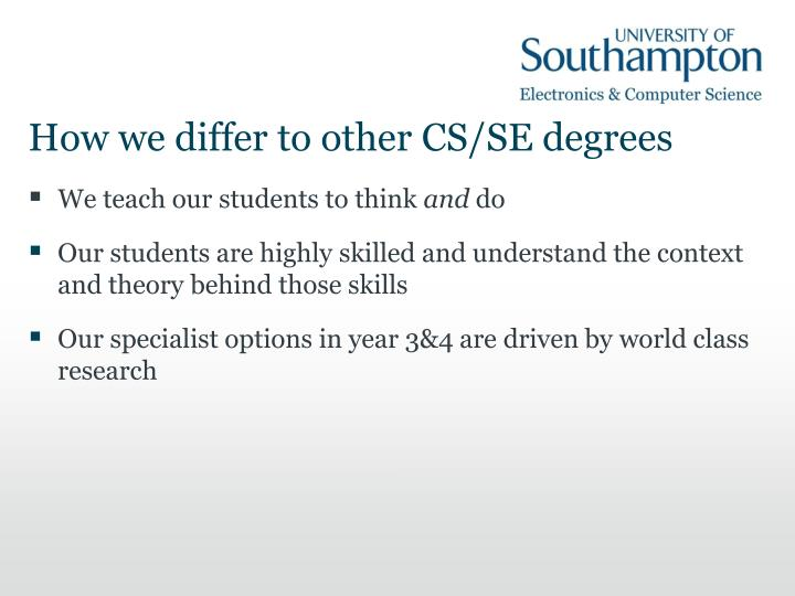 How we differ to other cs se degrees
