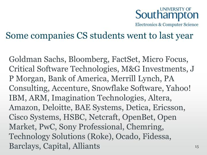 Some companies CS students went to last year