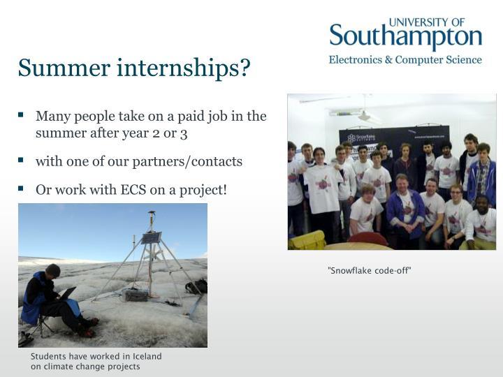 Summer internships?
