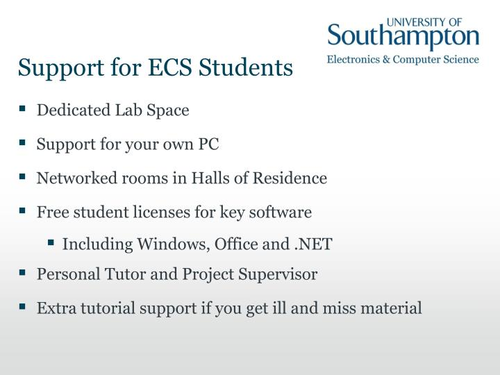 Support for ECS Students