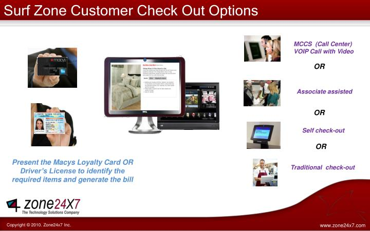 Surf Zone Customer Check Out Options