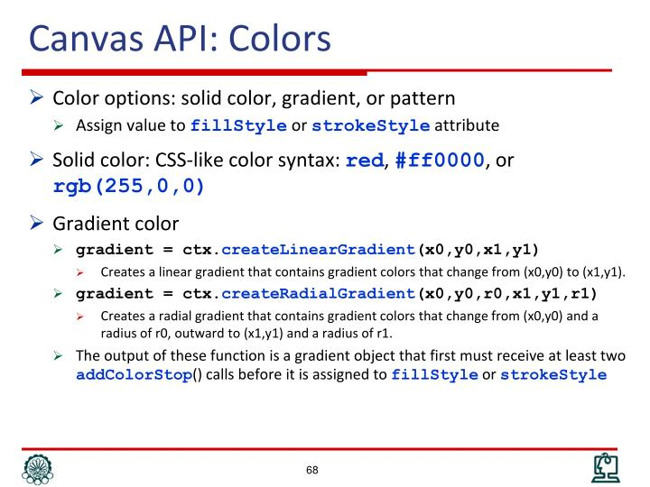 Canvas API: Colors