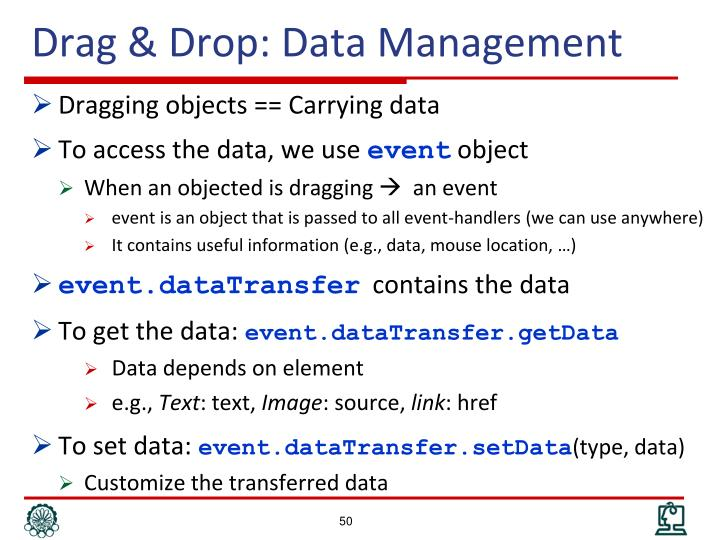 Drag & Drop: Data Management