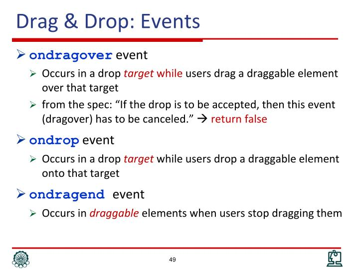 Drag & Drop: Events