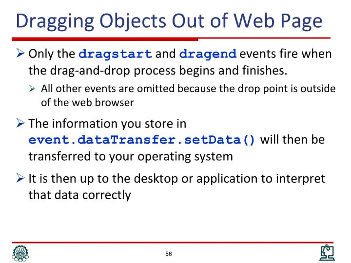 Dragging Objects Out of Web Page