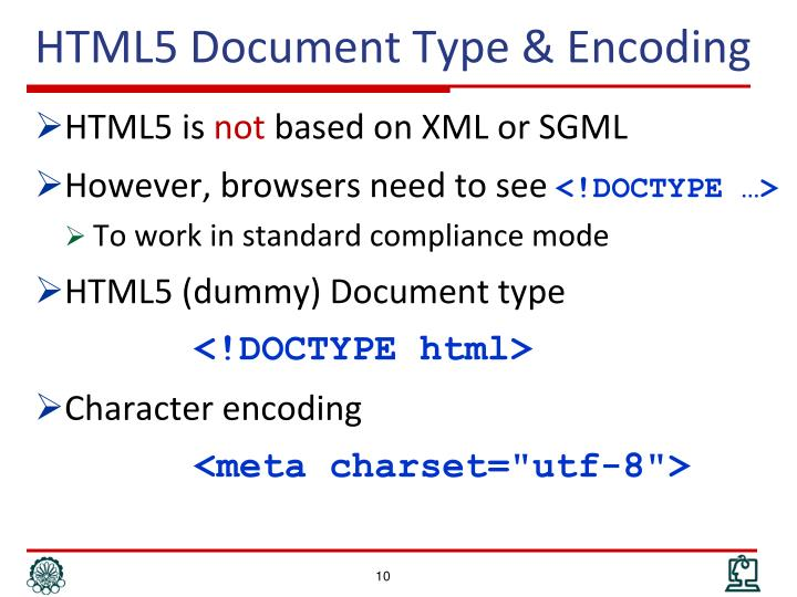 HTML5 Document Type & Encoding