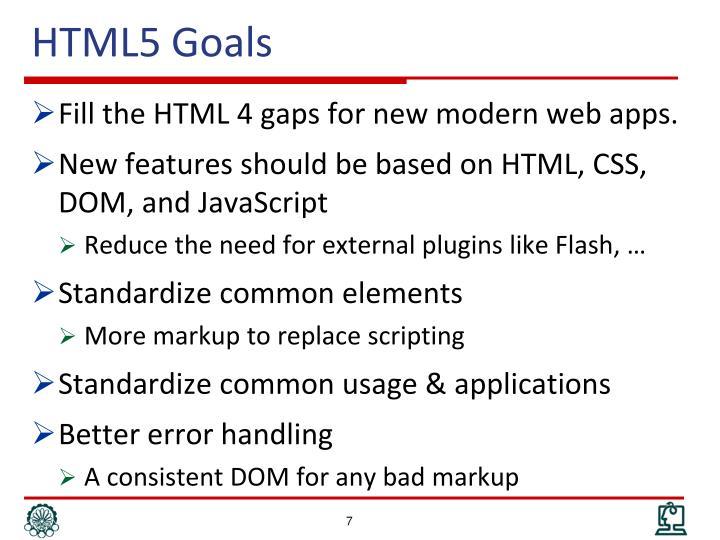 HTML5 Goals