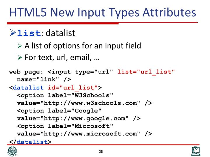 HTML5 New Input Types Attributes