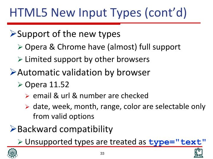 HTML5 New Input Types (cont'd)