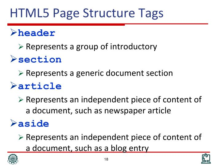HTML5 Page Structure Tags