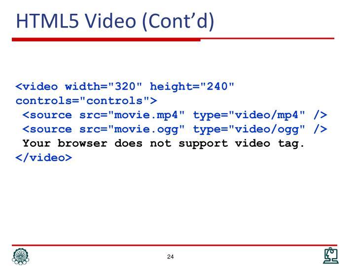 HTML5 Video (Cont'd)