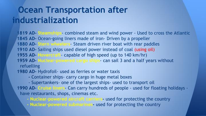 Ocean Transportation after industrialization