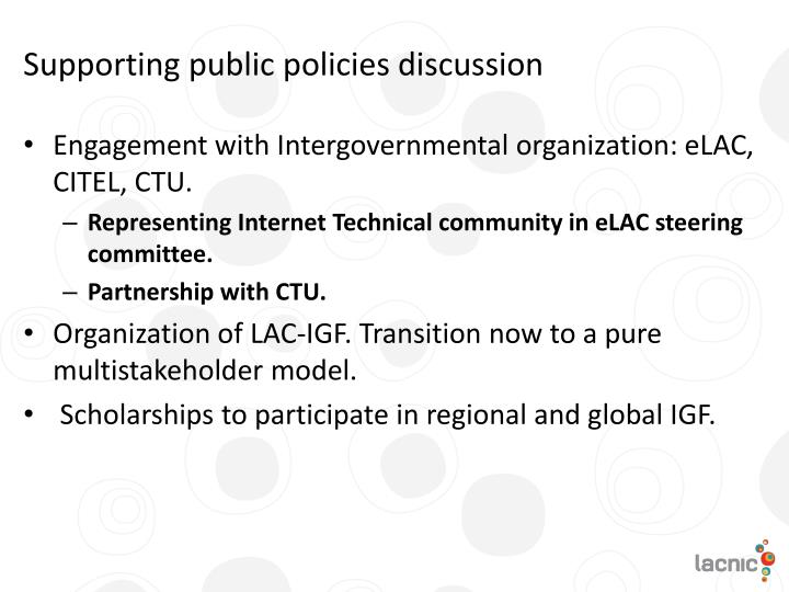 Supporting public policies discussion