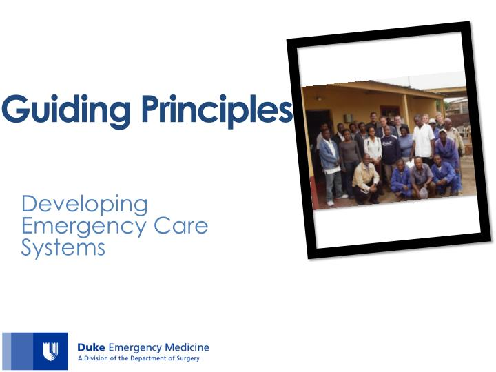 Developing Emergency Care Systems