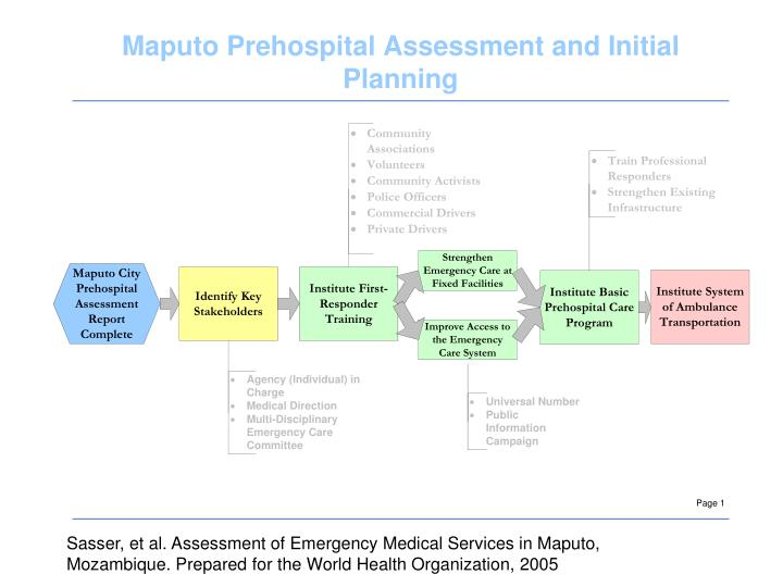 Sasser, et al. Assessment of Emergency Medical Services in Maputo, Mozambique. Prepared for the World Health Organization, 2005