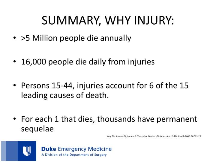 SUMMARY, WHY INJURY:
