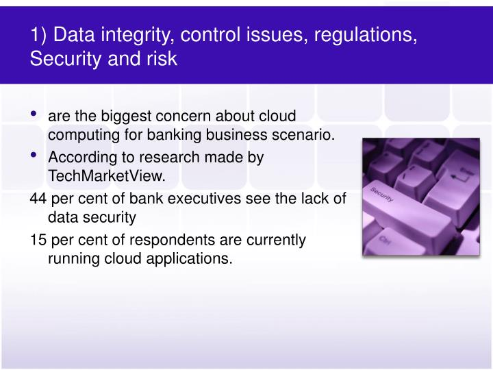 1) Data integrity, control issues, regulations, Security and risk
