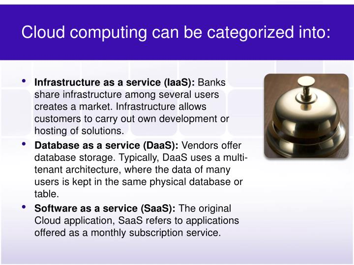 Cloud computing can be categorized into:
