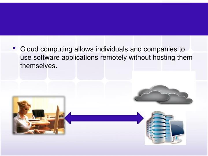 Cloud computing allows individuals and companies to use software applications remotely without hosti...