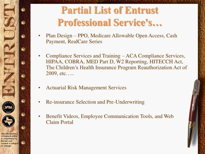Partial List of Entrust  Professional Service's…