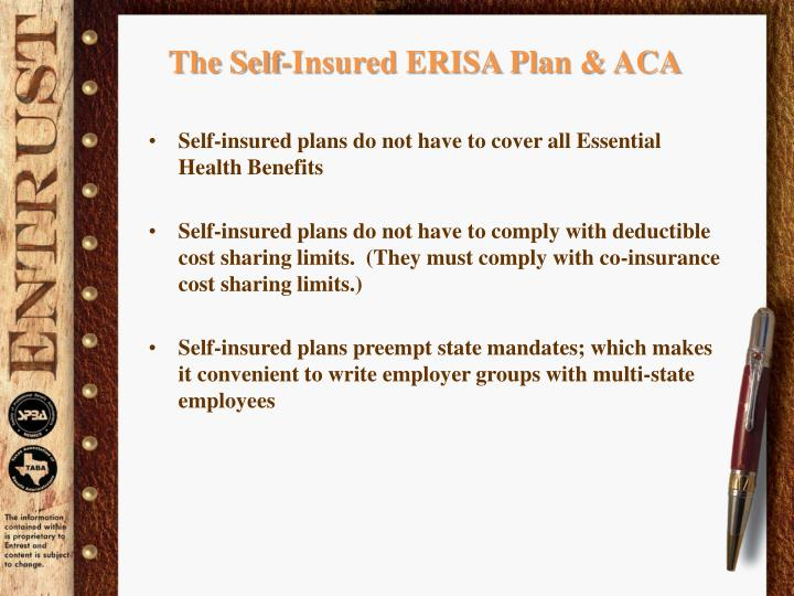 The Self-Insured ERISA Plan & ACA