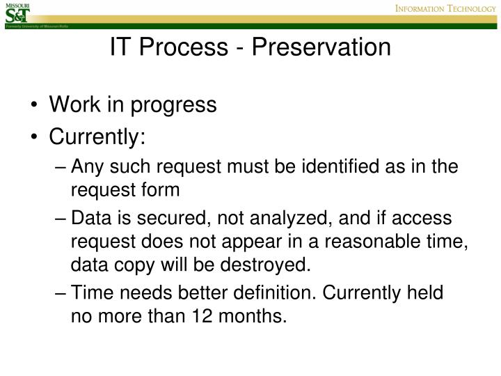 IT Process - Preservation