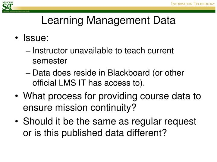 Learning Management Data