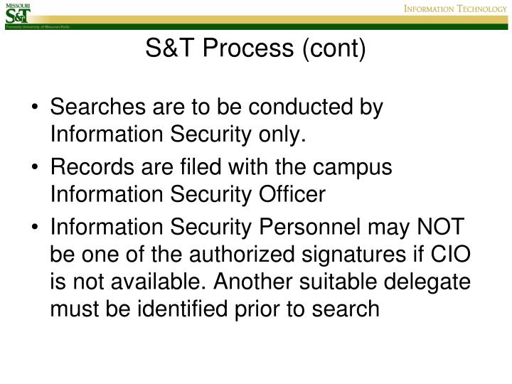 S&T Process (cont)