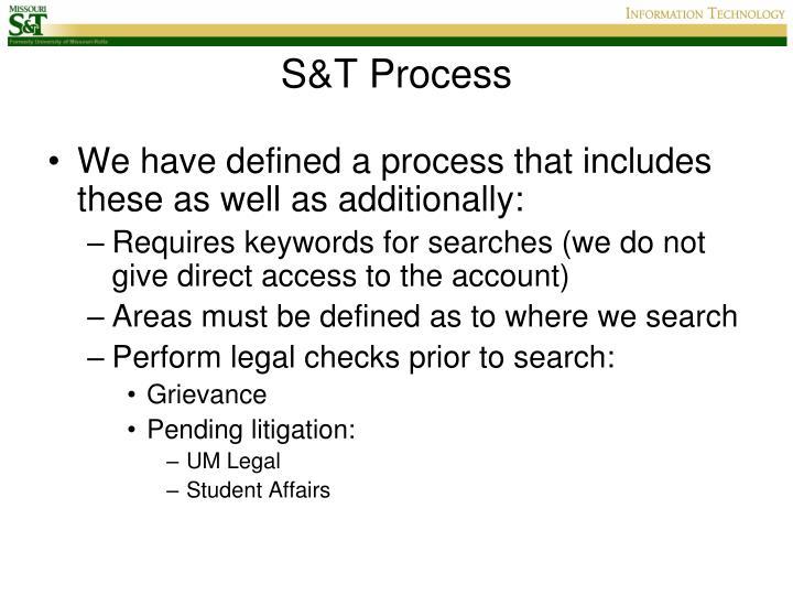 S&T Process