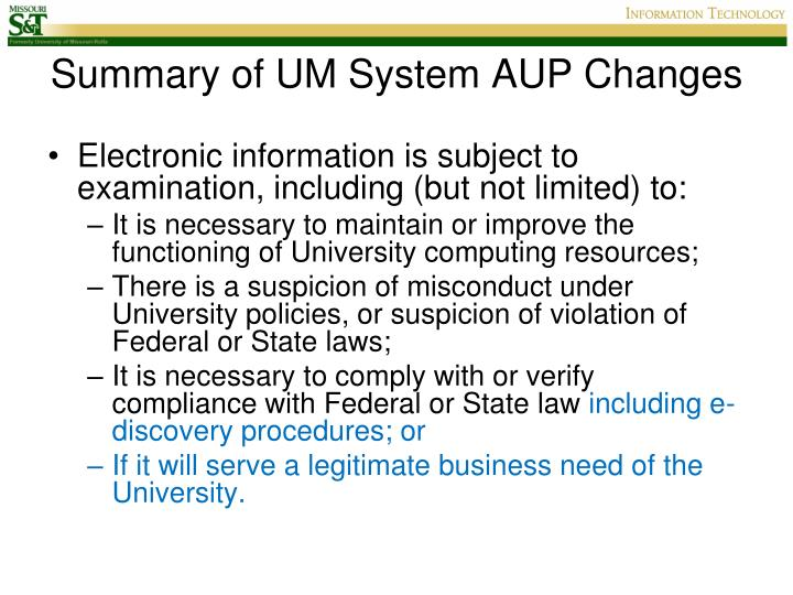 Summary of um system aup changes