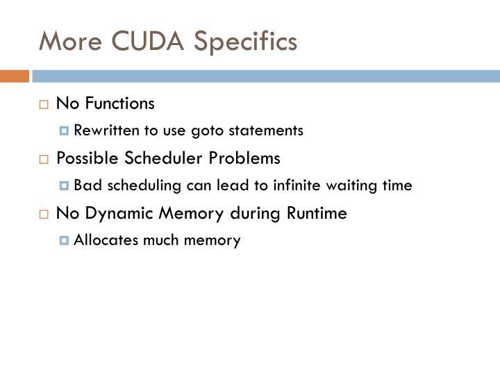 More CUDA Specifics