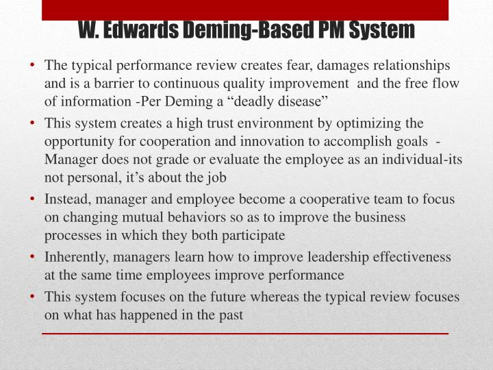 W edwards deming based pm system