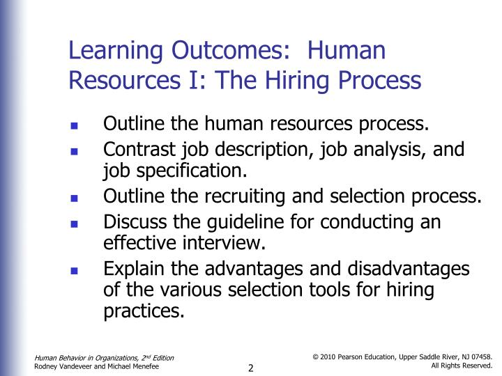 Learning outcomes human resources i the hiring process