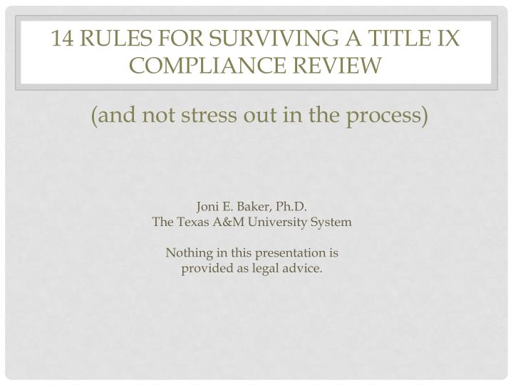 14 Rules for Surviving a Title IX Compliance Review