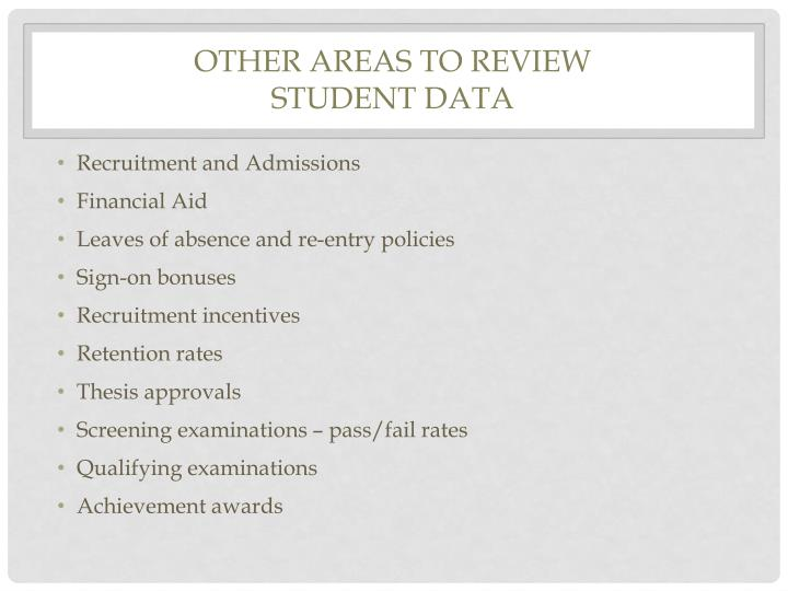Other Areas to Review