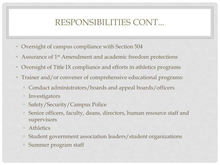Responsibilities cont...