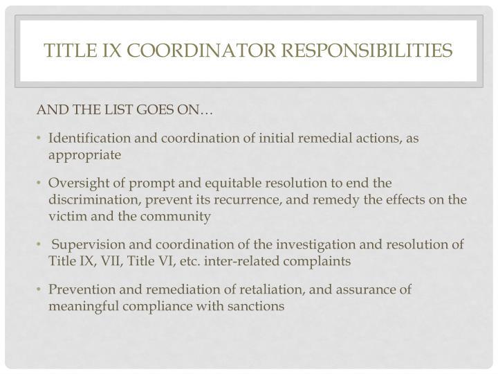 Title IX Coordinator Responsibilities