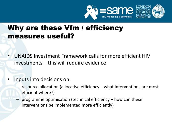Why are these vfm efficiency measures useful