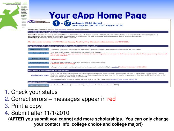 Your eApp Home Page