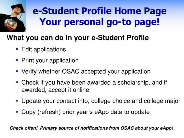 e-Student Profile Home Page