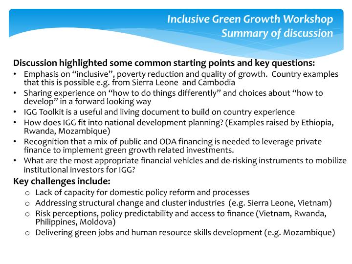 Inclusive Green Growth Workshop