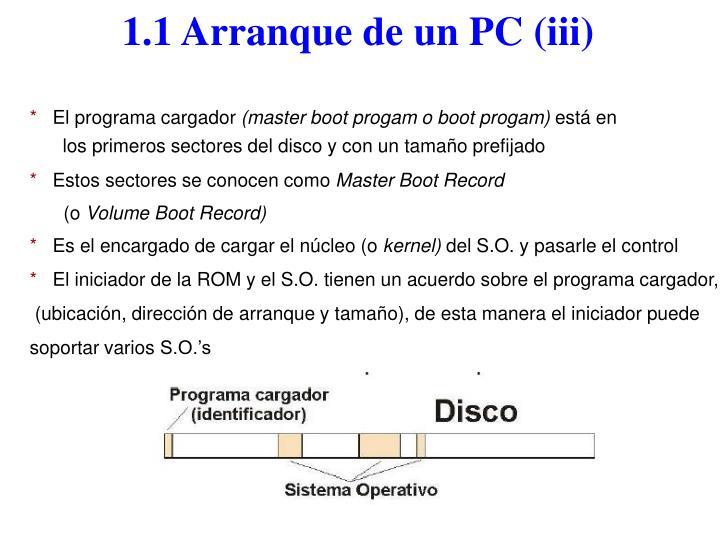 1.1 Arranque de un PC (iii)