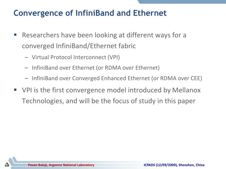 Convergence of InfiniBand and Ethernet