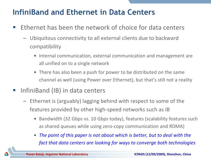 InfiniBand and Ethernet in Data Centers